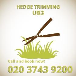 UB3 hedge trimming Harlington